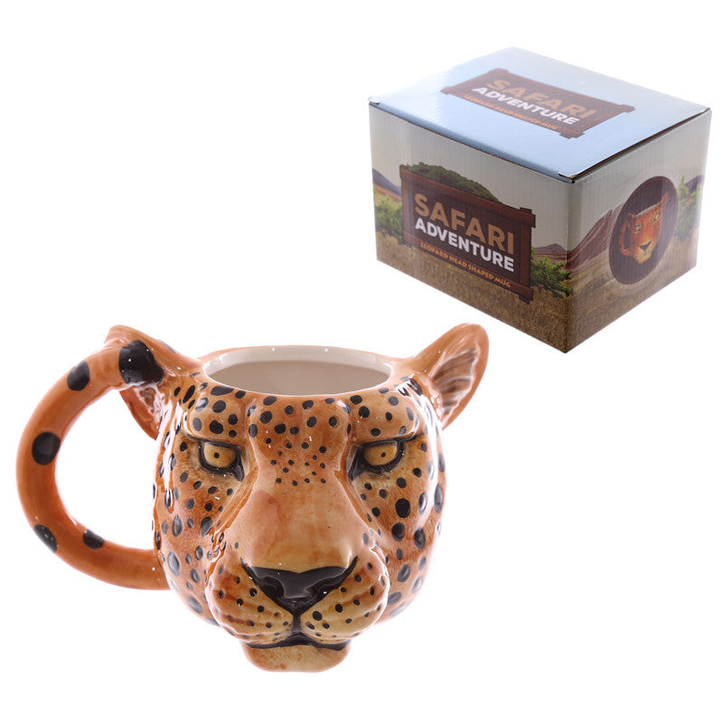 Novelty Leopard Head Shaped Ceramic Mug
