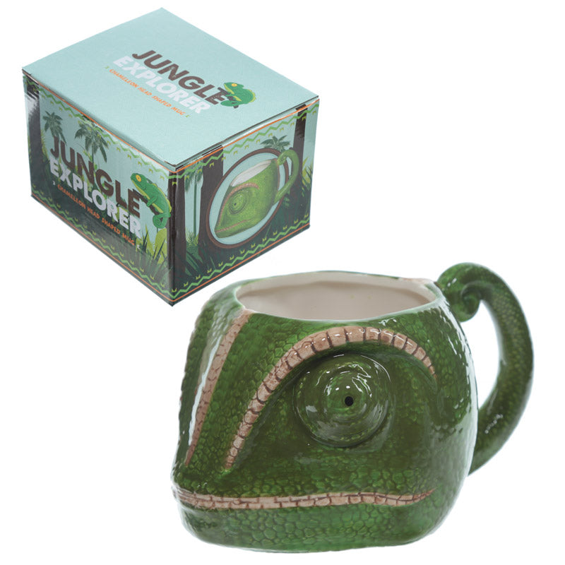 Novelty Chameleon Head Shaped Ceramic Mug