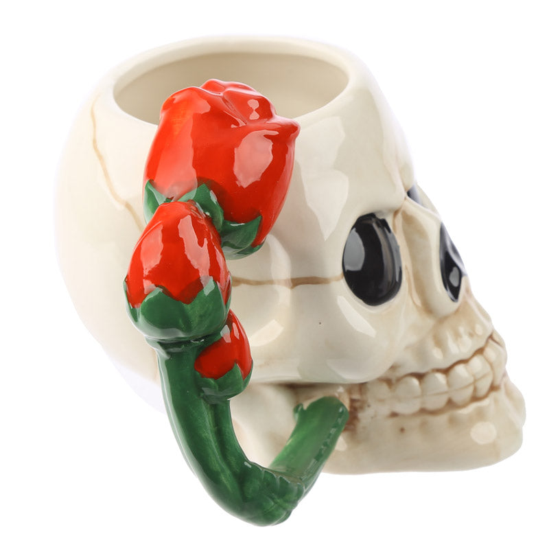 Fantasy Skull and Rose Shaped Handle Ceramic Mug