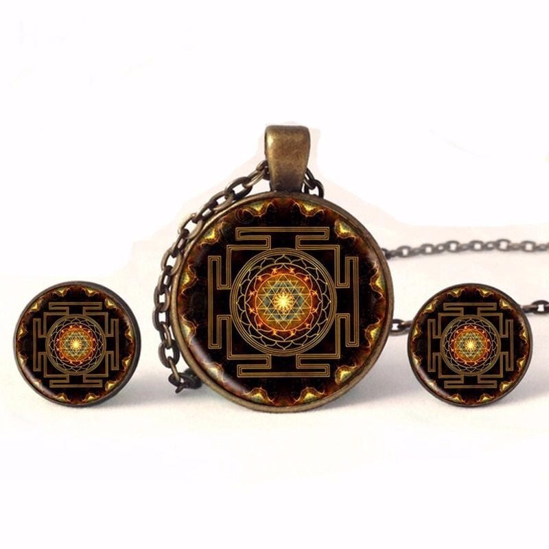 Handmade Sacred Geometry Sri Yantra Necklace/Pendant Set/Earrings in Velvet Pouch