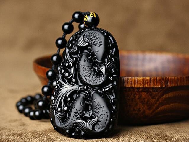 Protective Obsidian Fish Happy Reunion Lucky Pendant/Necklace in Velvet Pouch-Hand Carved
