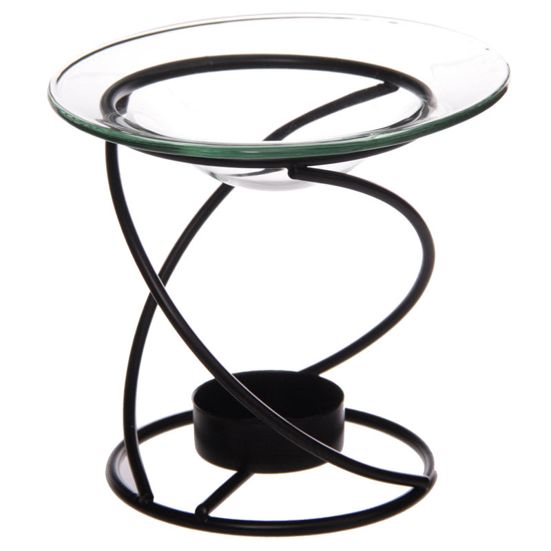 Thin Spiral Black Metal Oil Burner with Glass Dish