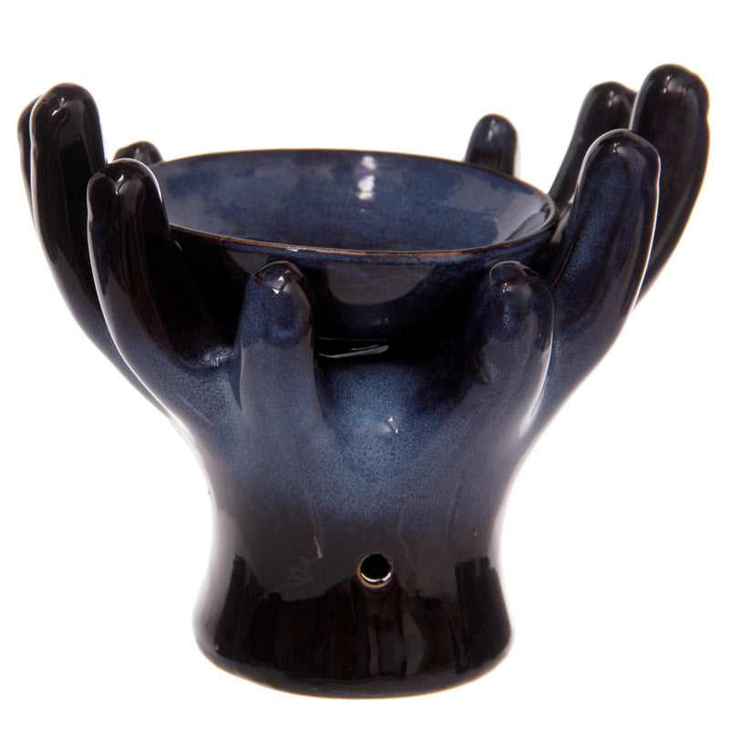 Ceramic Hands Design Dark Glazed Oil Burner