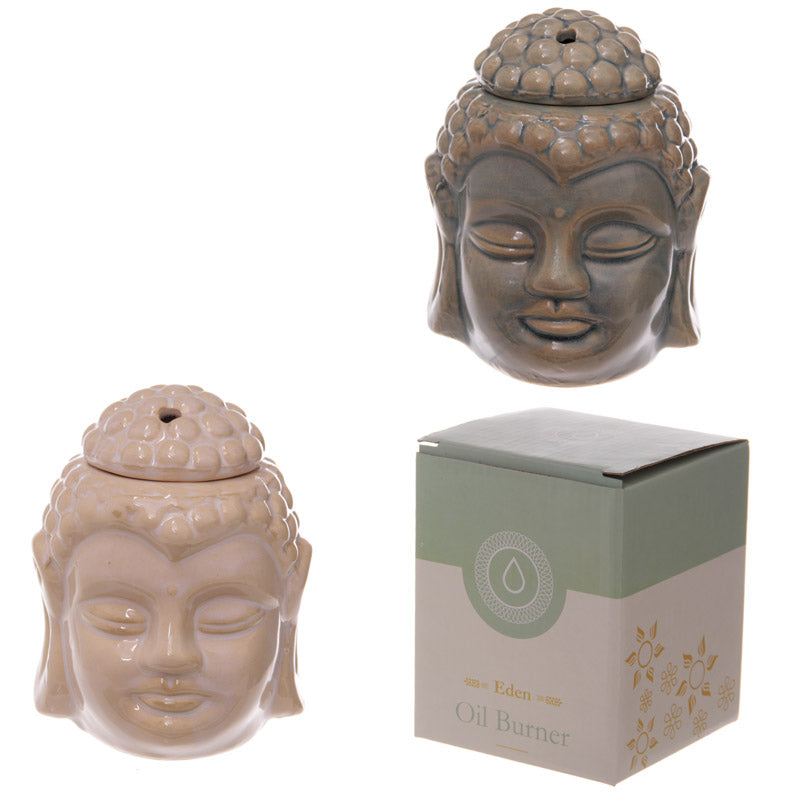Ceramic Buddha Head Design Crackle Glazed Oil Burner