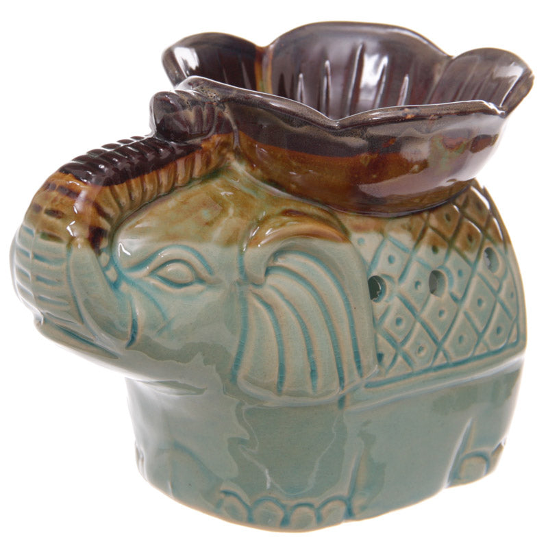 Ceramic Two Tone Glaze Elephant and Flower Oil Burner