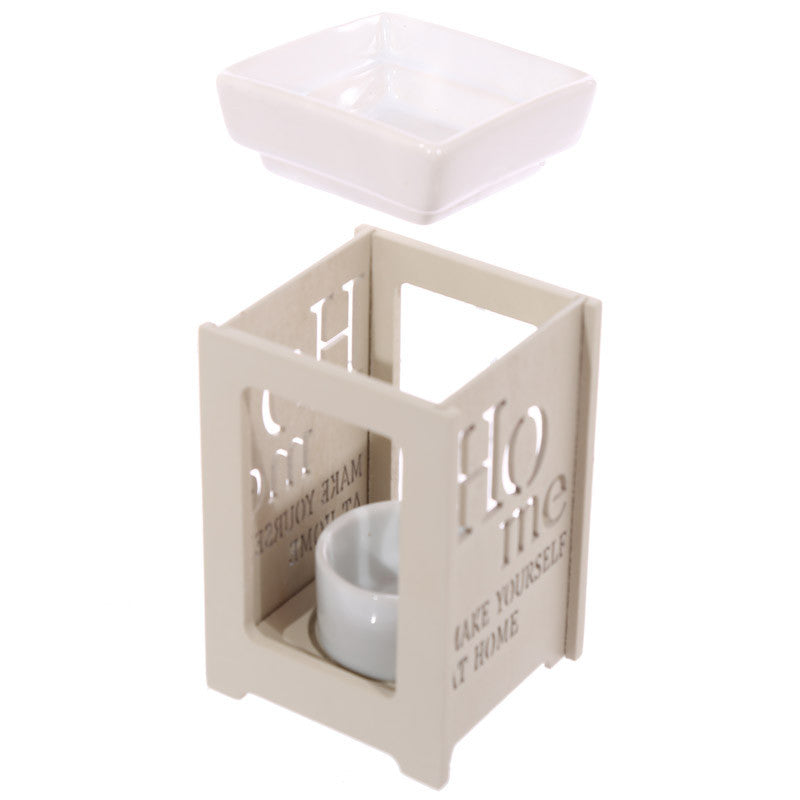 Ceramic and Wood Make Yourself at Home Oil Burner