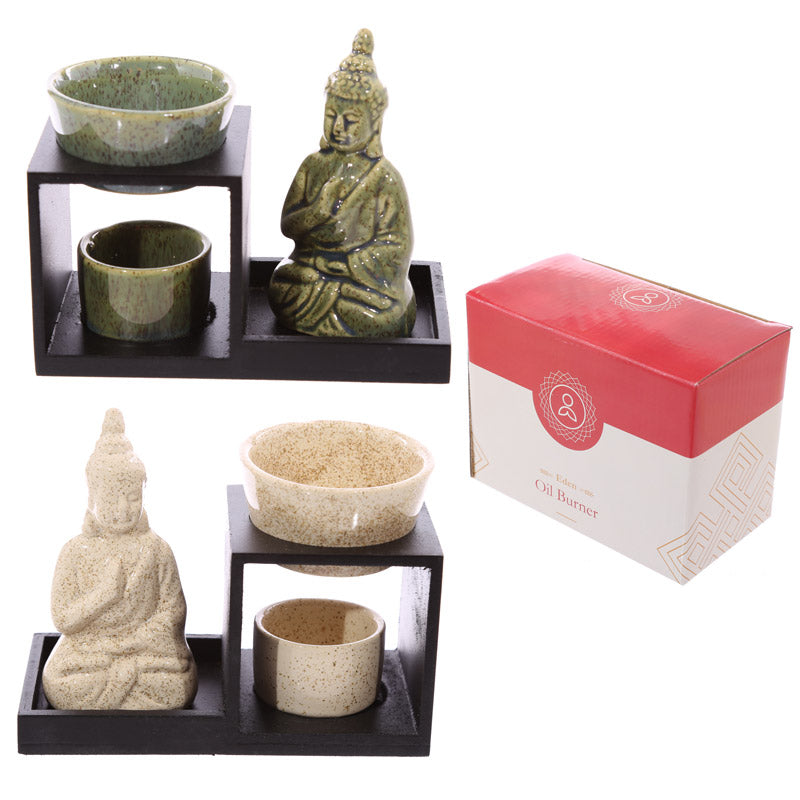 Buddha Ceramic and Wood Tiered Oil Burner