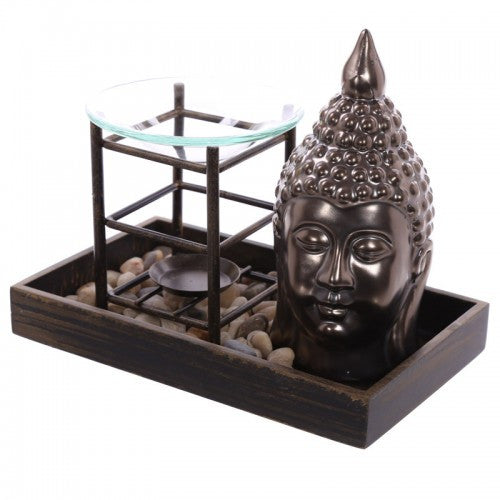 Decorative Buddha Ceramic Ornament and Oil Burner Pebble Tray