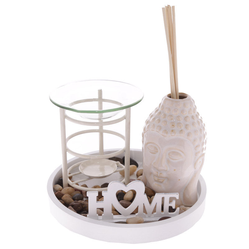 Metal and Glass Oil Burner and Buddha Diffuser Set