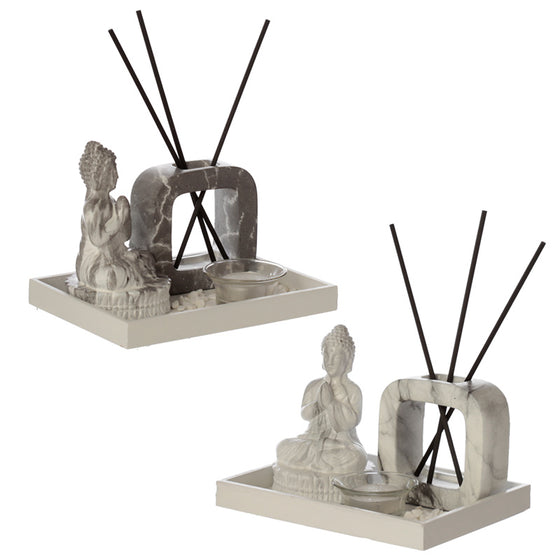 Meditating Buddha Tea Light Holder & Reed Holder Aroma Set