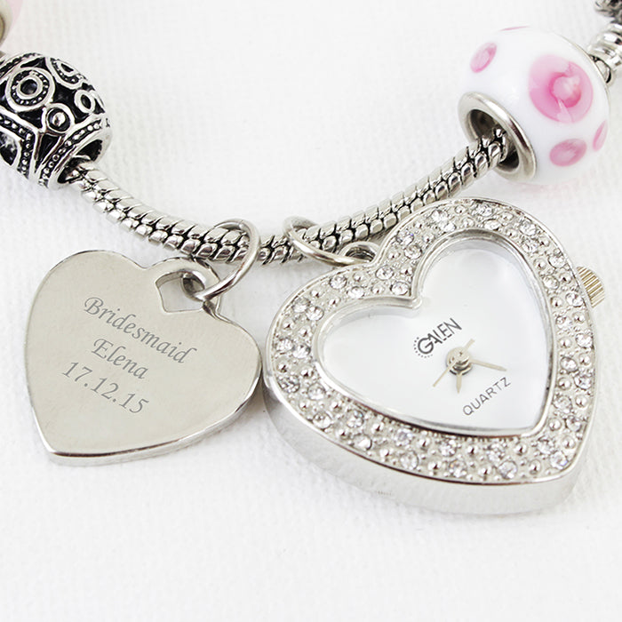 Personalised Candy Pink Watch Charm Bracelet 18cm