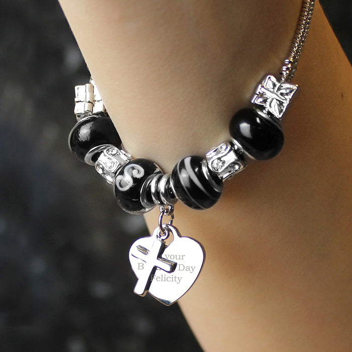 Personalised Cross Charm Bracelet - Galaxy - 18cm
