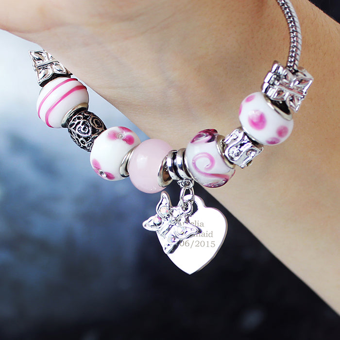 Personalised Butterfly & Heart Charm - Candy Pink - 18cm
