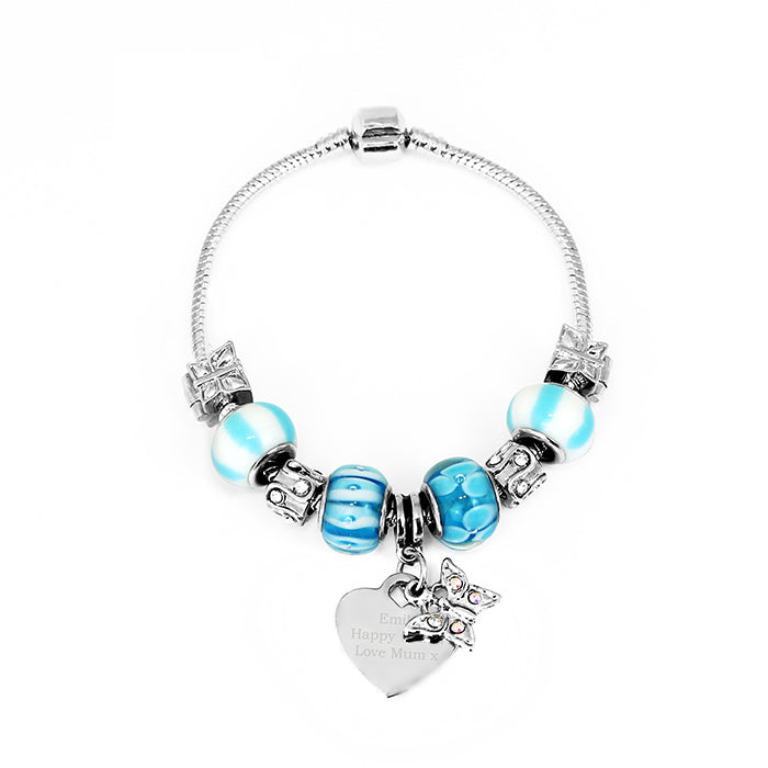 Personalised Butterfly & Heart Charm - Sky Blue - 18cm