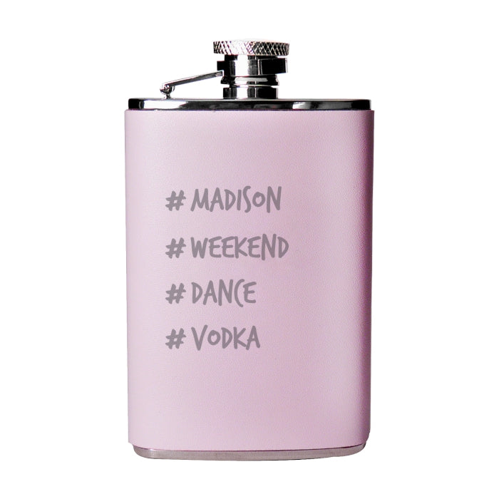 Personalised Hashtag Pink Hip Flask
