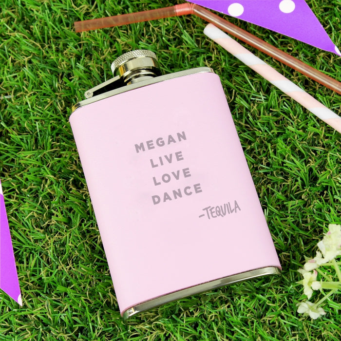 Personalised Signature Pink Hip Flask