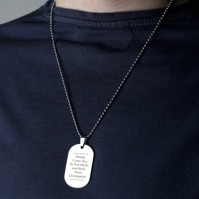 Personalised Classic Stainless Steel Dog Tag Necklace
