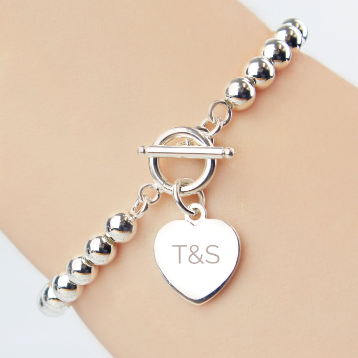 Personalised Silver Plated 'Initials' Heart T-Bar Bracelet