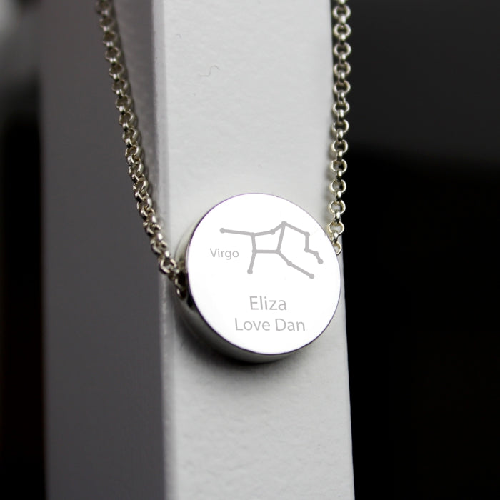 Personalised Virgo Zodiac Star Sign Silver Tone Necklace (August 23rd - September 22nd)