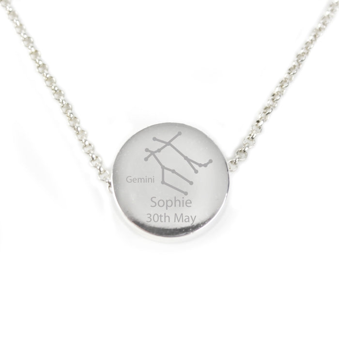 Personalised Gemini Zodiac Star Sign Silver Tone Necklace (May 21st - June 20th)