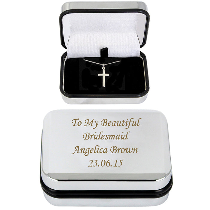 Personalised Box with Silver Cross Necklace