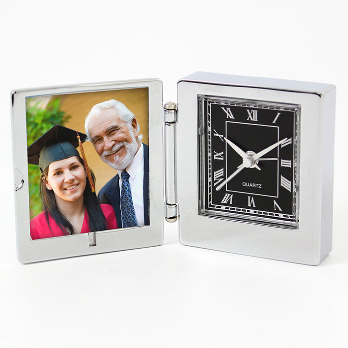 Personalised Compass Photo Frame Travel Clock 4.5cm x 5cm