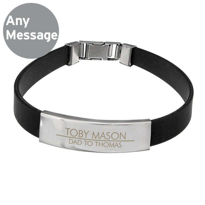 Personalised Classic Stainless Steel Men's Black Bracelet