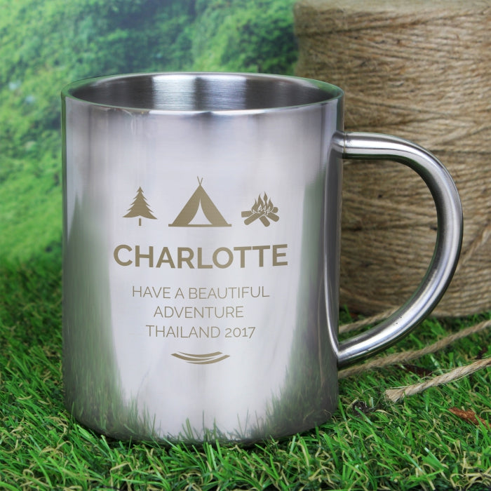 Personalised 'Wilderness Wanderer' Stainless Steel Mug