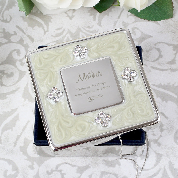 Personalised Swirls & Hearts Square Diamante Trinket Box