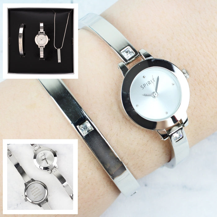 Personalised Ladies Watch Set: Engraved Watch, Bracelet and Necklace in Gift Box