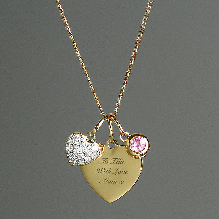Personalised Sterling Silver 9ct Gold Heart Necklace