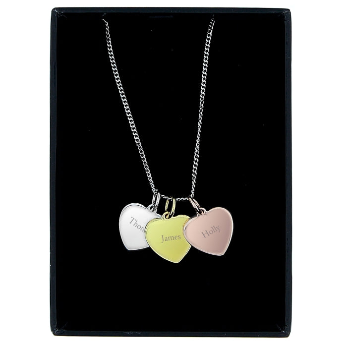 Personalised Silver, Gold and Rose Gold 3 Hearts Necklace
