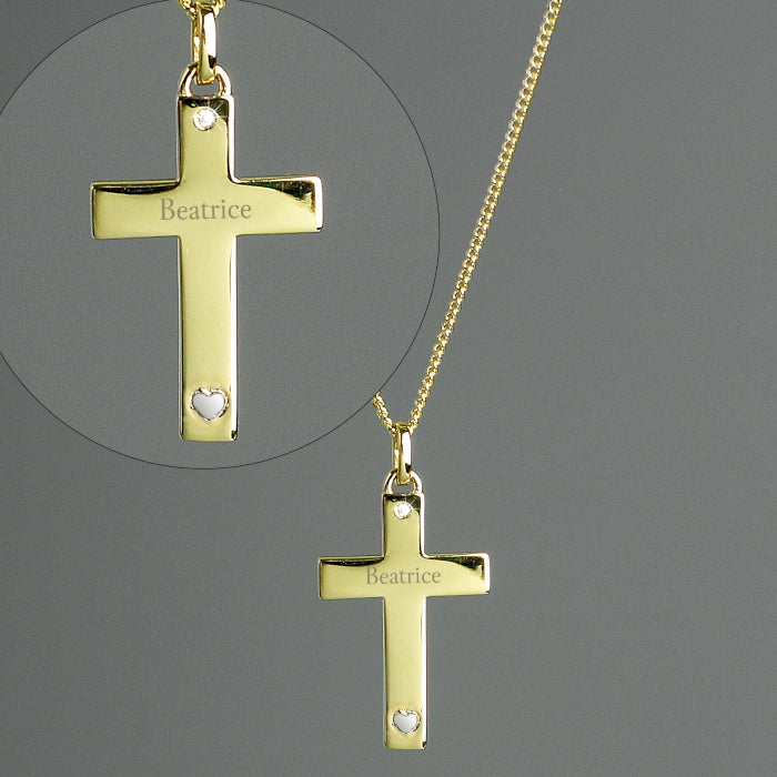 Personalised 9ct Gold Cross with Sterling Silver Heart & CZ Necklace