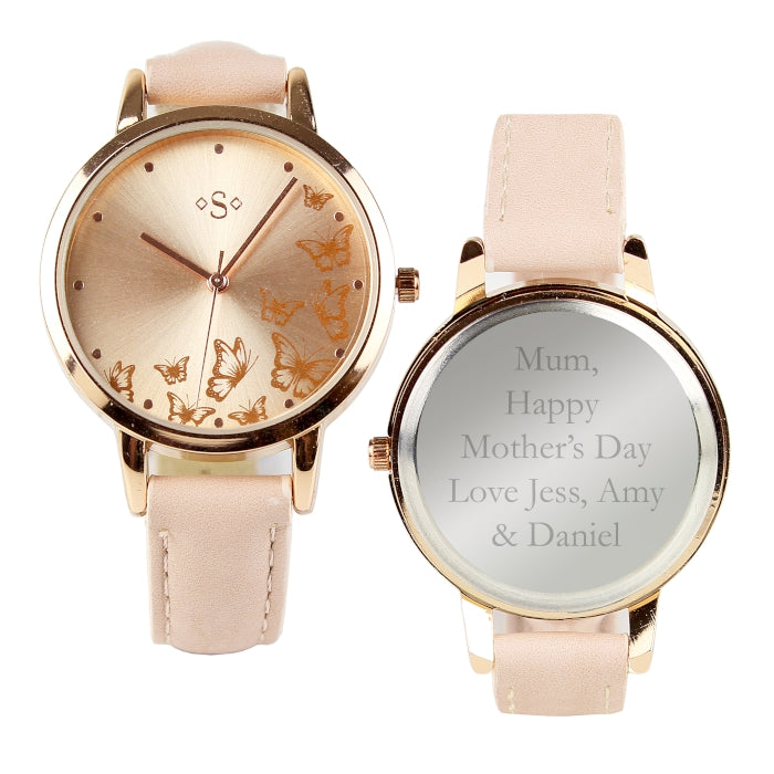 Personalised Rose Gold Butterfly Motif Ladies Watch