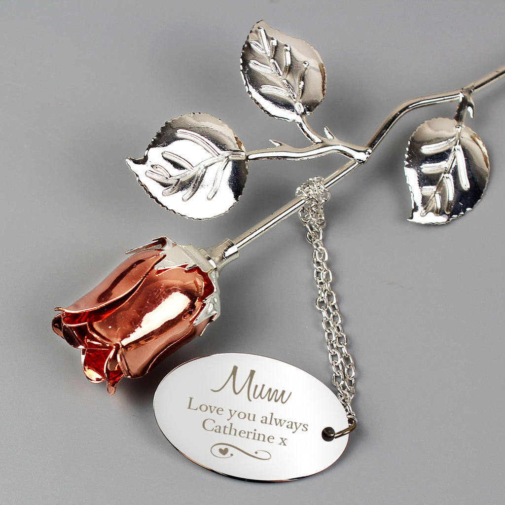 Personalised Silver Plated Swirls & Hearts Rose Gold Rose Bud Ornament