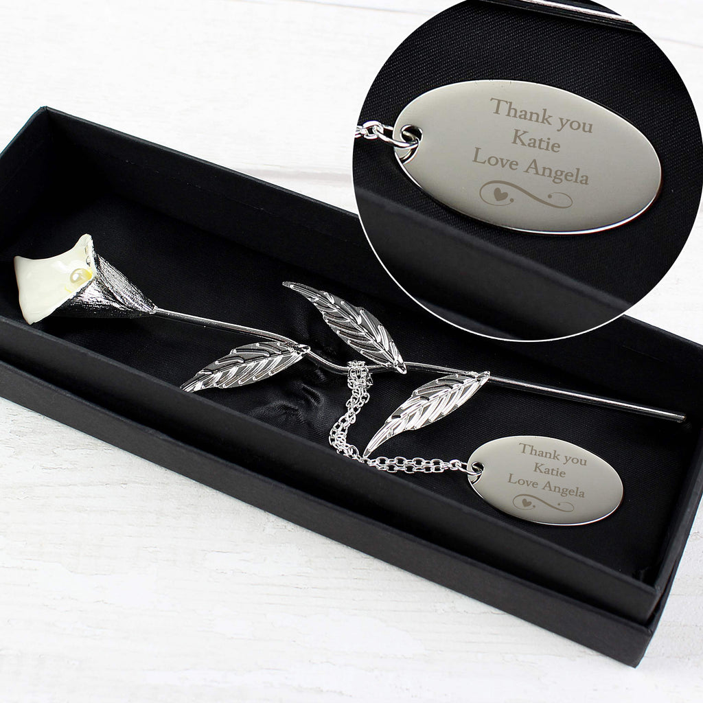 Personalised Silver Plated Calla Lily Flower Ornament