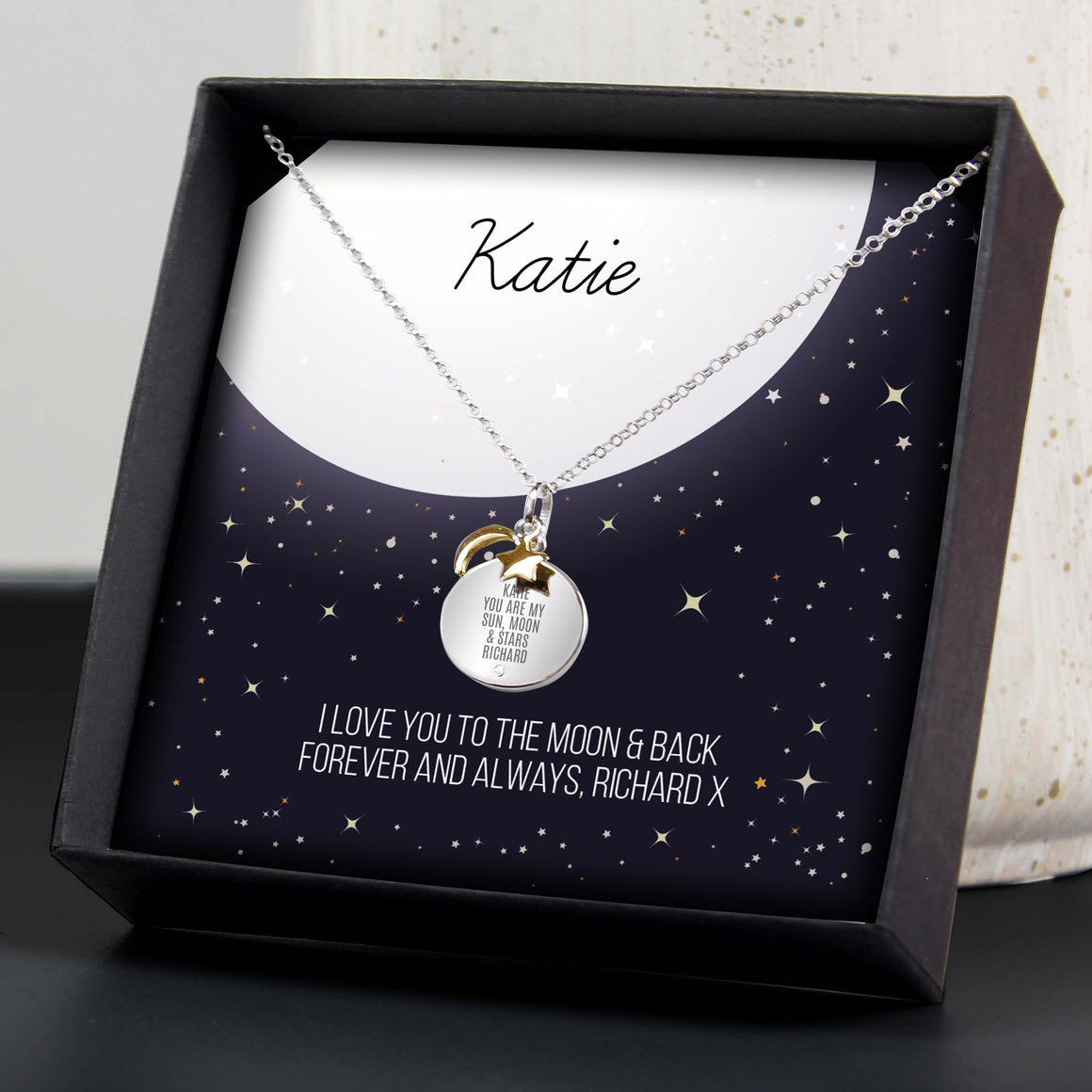 Moon & Stars Sterling Silver Necklace and Box look4ward