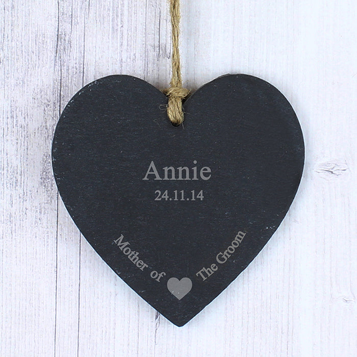 Personalised Mother Of The Groom Slate Heart Decoration