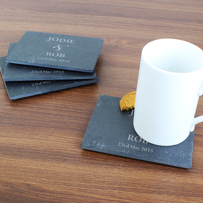 Personalised Couples 4 Pack of Slate Coasters