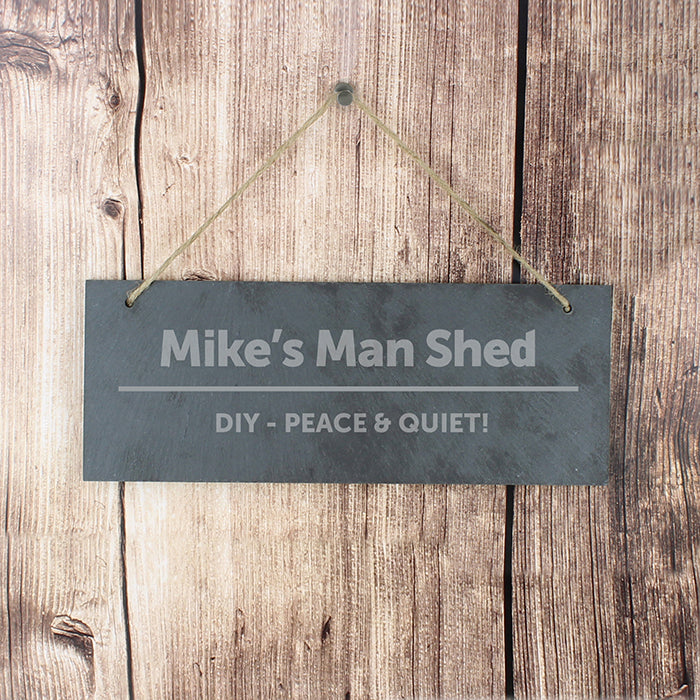 Personalised Bold Design Hanging Slate Plaque