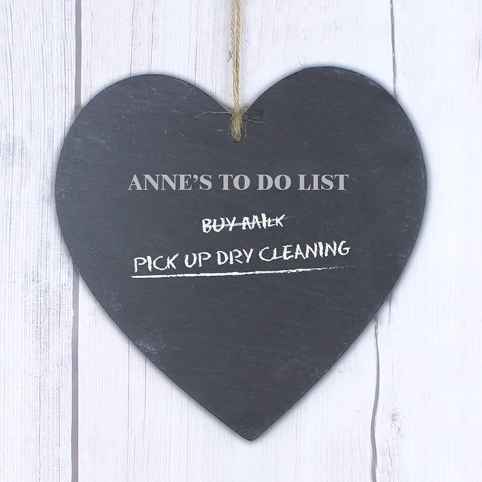 Personalised Chalk Board Large Heart Slate