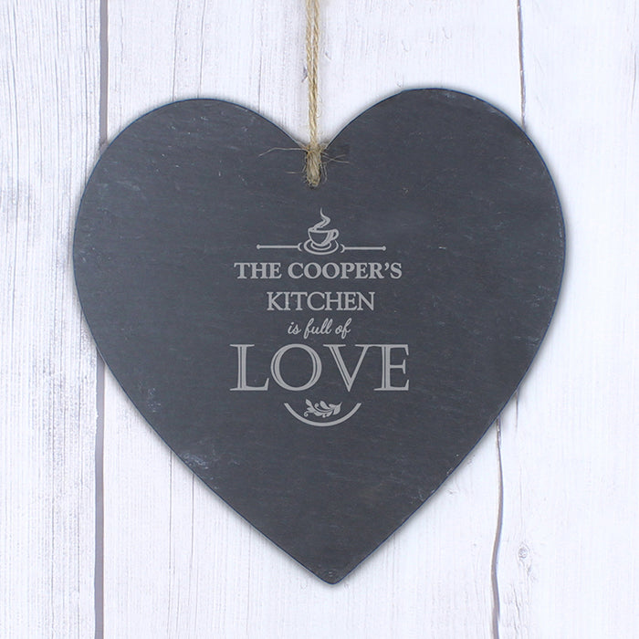 Personalised Full of Love Large Slate Heart Decoration