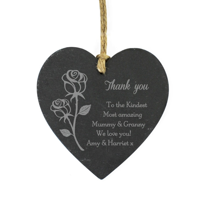 Personalised Rose Slate Heart Decoration