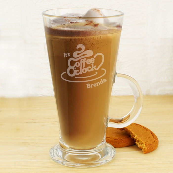 Personalised Coffee O Clock Latte Glass
