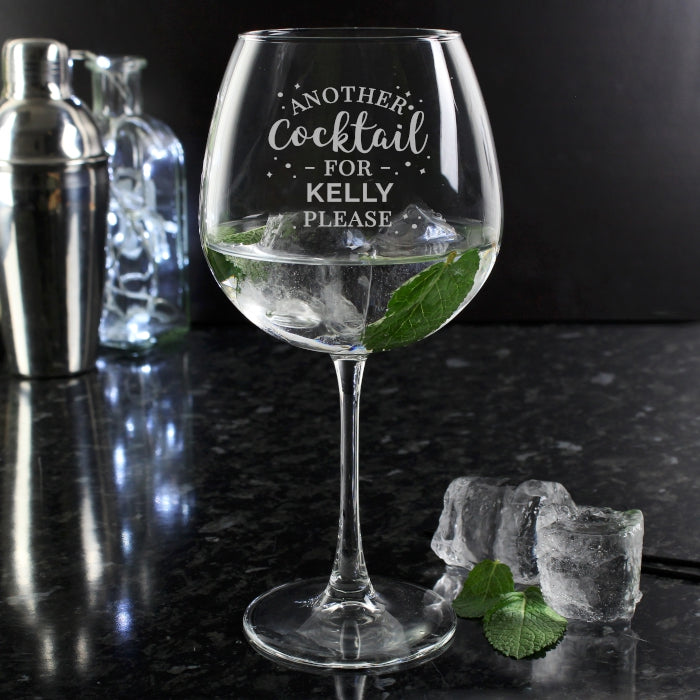 Personalised Another Cocktail Balloon Glass