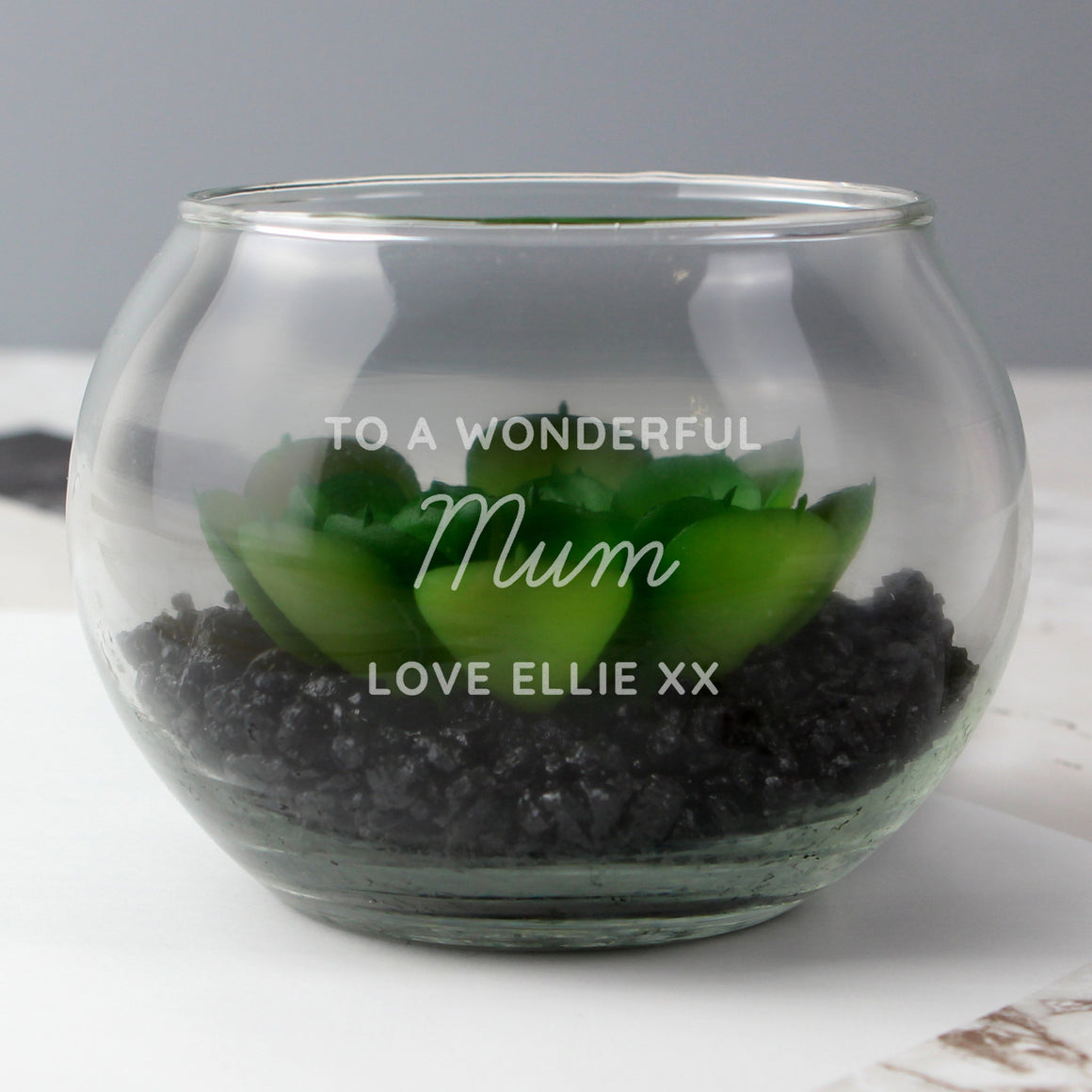 Personalised Any Message Glass Terrarium