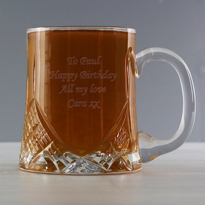 Personalised Half Pint Cut Crystal Tankard