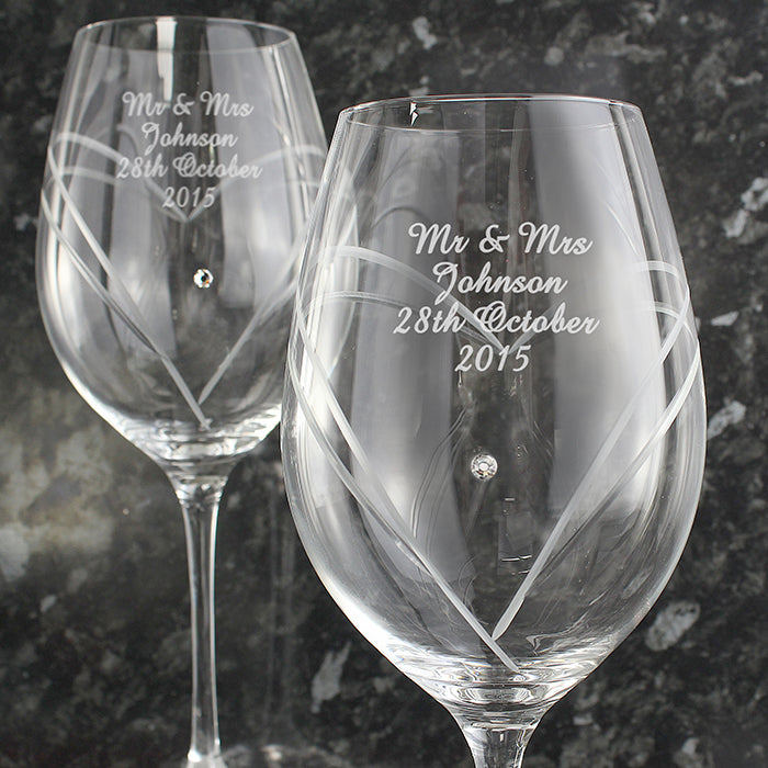 Personalised Hand Cut Diamante Heart Wine Glasses with Swarovski Elements