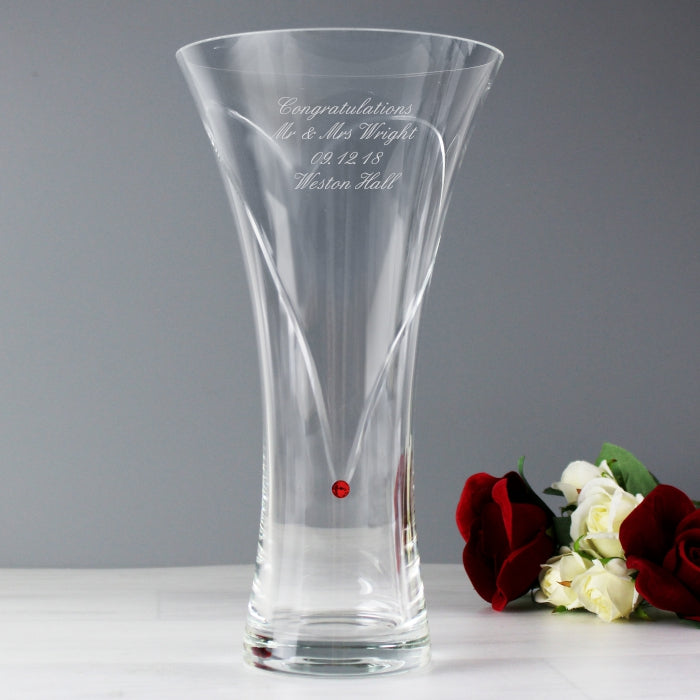 Personalised Large Hand Cut Ruby Diamante Heart Vase With Swarovski