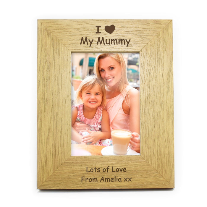 Personalised Oak Finish 4x6 I Heart Photo Frame